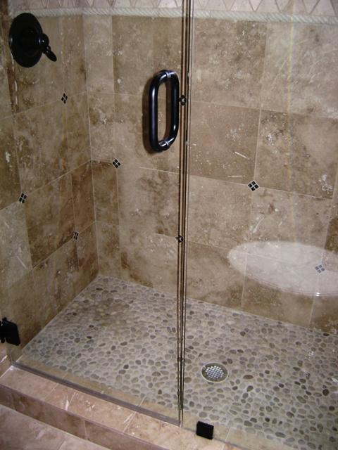Custom shower flickr photo sharing for River rock bathroom ideas