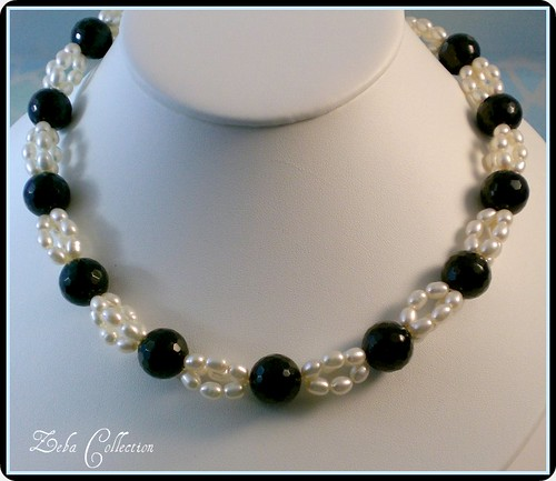 Fresh Water Pearls and Onyx Necklace