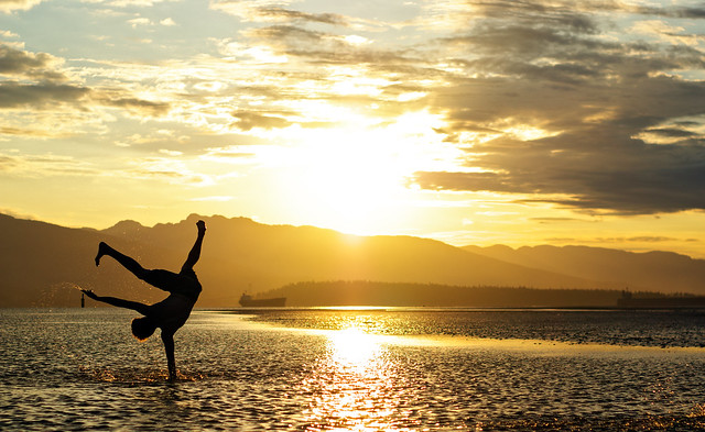 Break Dancer Silhouette - Pacific Ocean Sunrise - Vancouver, Canada