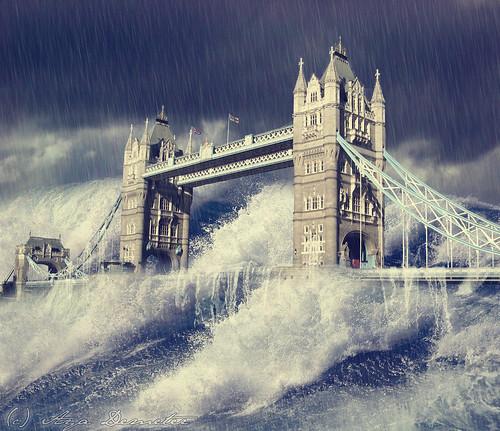 無料写真素材, グラフィック, フォトレタッチ, 橋, 洪水, タワーブリッジ