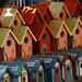 Bird houses in a row