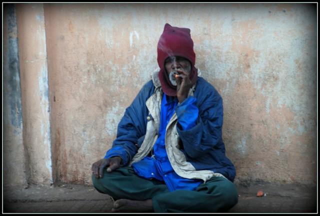 Smoking a Beedi