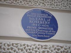 Photo of Archibald Primrose blue plaque
