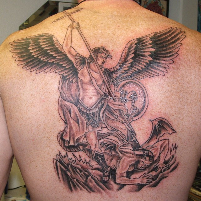 Steve 39 s st michael st michael slaying the dragon by for Steve s tattoo