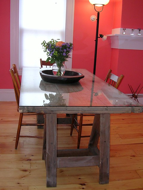 Old Barn Door And Saw Horses For Dining Table Flickr Photo Sharing