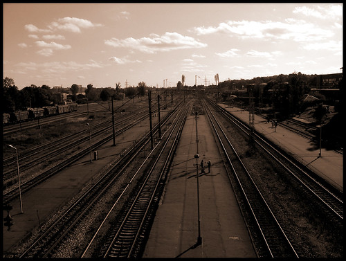 city sepia industrial railway riga