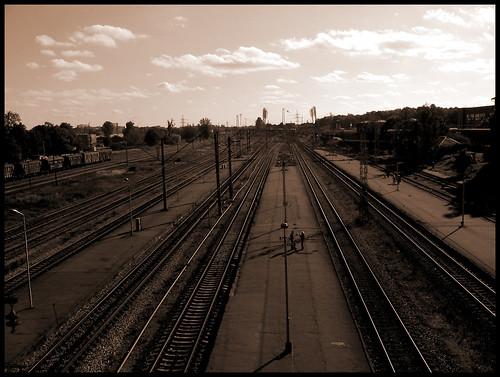 city sepia industrial railway riga