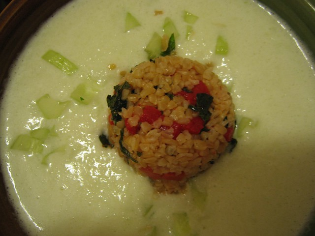 Chilled Cucumber-Yogurt Soup with Bulgar Timbales | Flickr - Photo ...