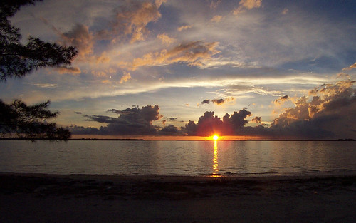 sunset from Sanibel causway 2002