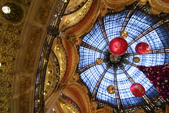 The Cupola of Galeries Lafayette decorated for Christmas
