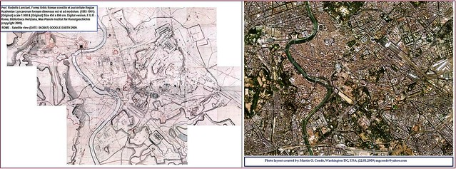 ROME - CENTRAL ARCHAEOLOGICAL AREA: Prof. Rodolfo Lanciani, [Map] Romae - F.U.R (1893-1901) & Rome (GOOGLE EARTH 2007). Comparative side-by-side view.