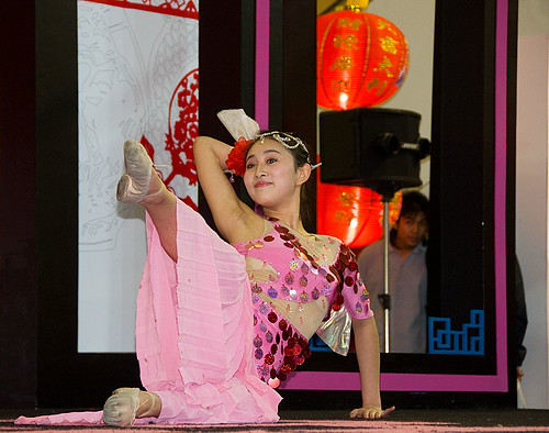 Chinese dancer performing at Chinese New Year show in Bangkok Th