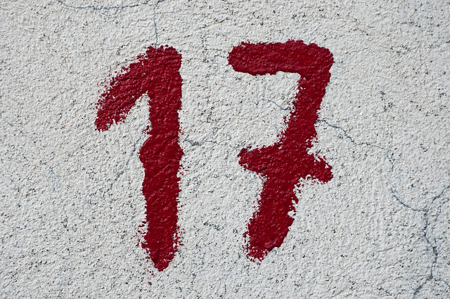 Close-up of the number 17 in red paint