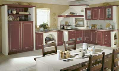 Cucina country Rossa in muratura | Cucina rossa ad angolo in ...