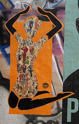 Wheatpaste Figure on an Orange Background. FKDL
