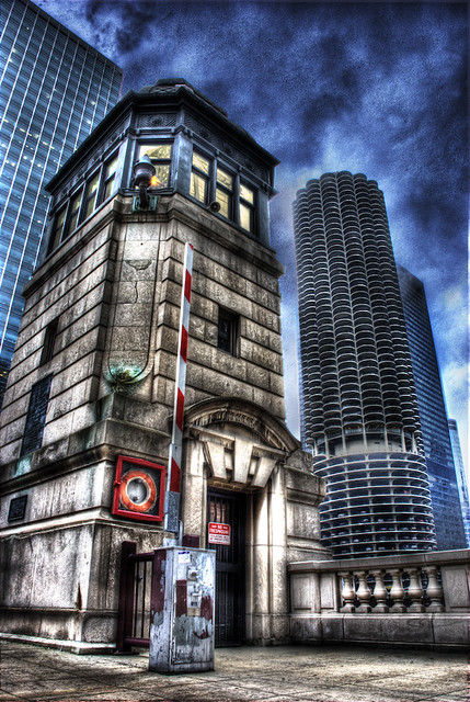 Chicago's LaSalle Street Bridge Tower and Marina City