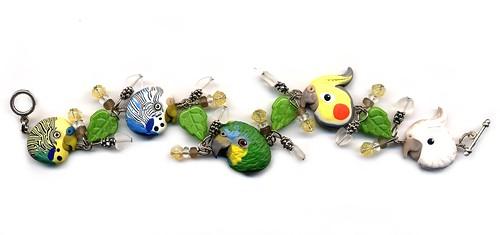Custom Bracelet with 5 Polymer Clay Birds