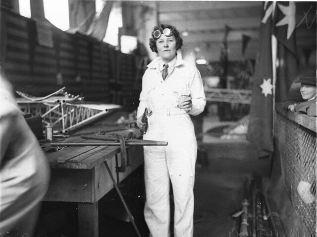 May Bradford welding part of the all Australian monoplane for the England-Australia air race, 1934 / photographed by Sam Hood