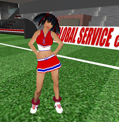 football player(0.0), kick(0.0), sports(0.0), athlete(0.0), sport venue(1.0), clothing(1.0), cheerleading uniform(1.0), costume(1.0), cheerleading(1.0),