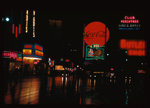 street city atlanta rain night vintage georgia view cocacola 1951