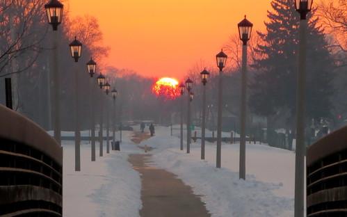 park street bridge chicago bike forest sunrise lights path prairie chicagoist