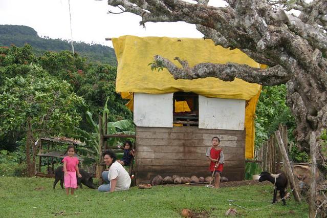 Family in Tu'anuku Village, Vava'u Island, Tonga.