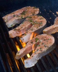 flame grilled salmon steaks (herb marinade recipe)
