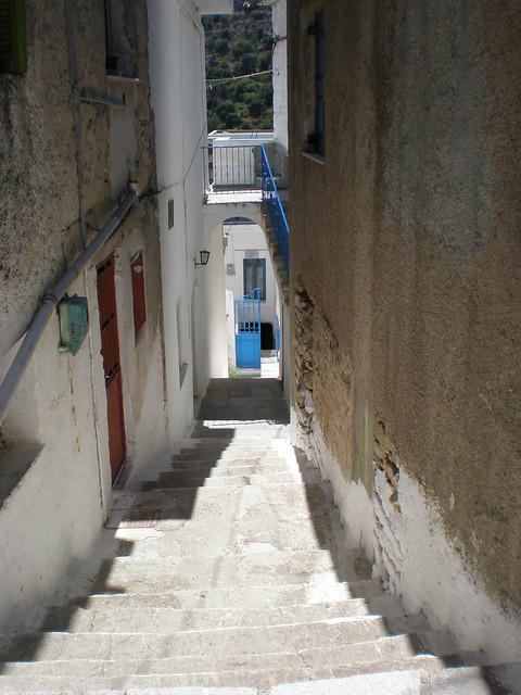 Path in keramoti village, naxos island, greece.