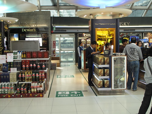 "Fire Exit at Suvarnabhumi Airport (a real ""duty""-free shop)"