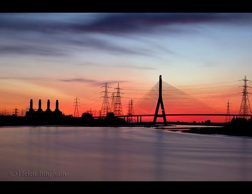 longexposure bridge blue sunset red water flintshire flintshirebridge helenbingham