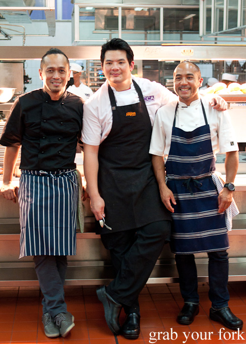 Chef Sau de Rosario and Chef JP Anglo flank one of the lead instructors from CCA Center for Culinary Arts Manila