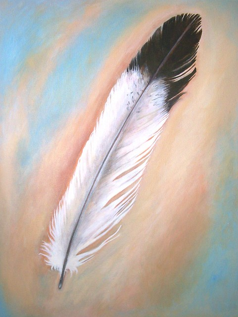 Feather original painting on canvas 16 x 20 flickr for Painting feathers on canvas