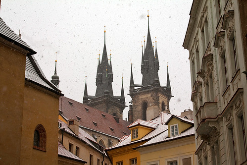 Prague - snow falling on the Tyn Cathedral spires
