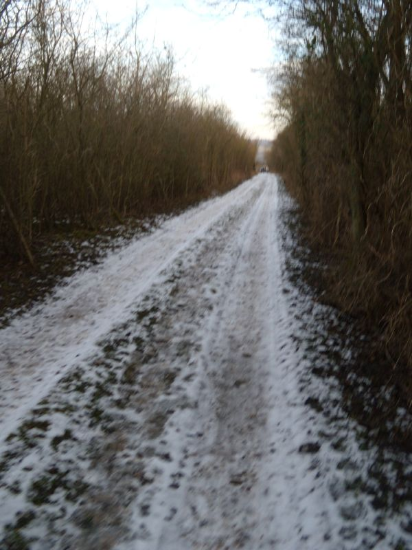 Snowy path Snodland to Sole Street