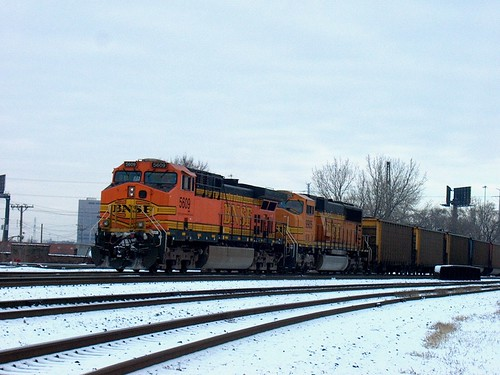 Southbound BNSF Railway unit coal train waiting for clearance north of Brighton Junction. Chicago Illinois. January 2007. by Eddie from Chicago