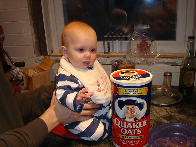 Ella loves the Quaker Oats box