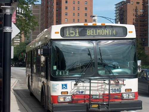 Southbound CTA 151 Belmont bus east of West Diversey Avenue. Chicago Illinois. September 2006. by Eddie from Chicago