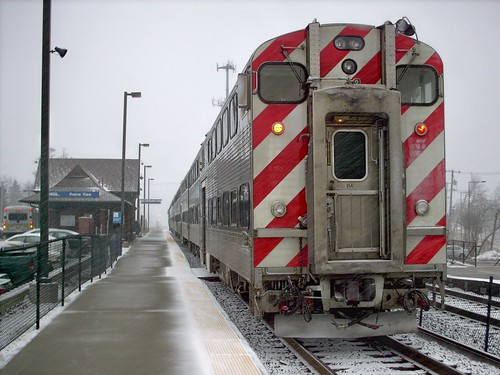 Northbound Metra commuter local at the Prarie View commuter rail station. Lincolnshire Illinois. Early March 2008. by Eddie from Chicago