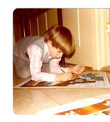 My Son Colors Darth Vader Poster on Hall Floor - Christmas 1978