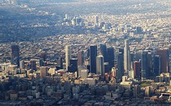 Downtown Los Angeles with Whilshire Blvd in the background heading off to the west