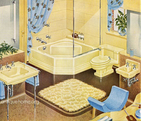 1940s yellow bathroom standard plumbing catalog flickr for Bathroom ideas 1940