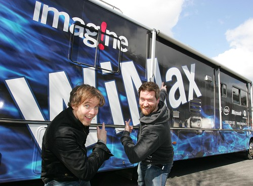 Dublins98 Morning Crew, Dermot and Dave enjoying the WiMax demo in Sandyford.