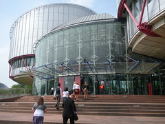 The European Court of Human Rights in Strasbourg.  Image from thethrillstheyyield's photostream