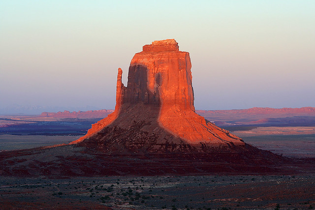 Monument Valley Right Mitten At Sunset With Shadow Of