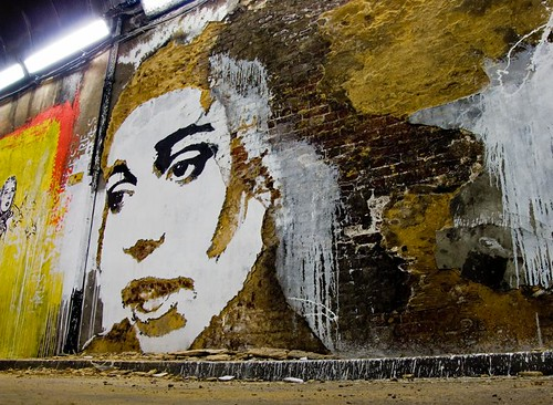 Amy Winehouse by Vhils - The Cans Festival, Waterloo, London