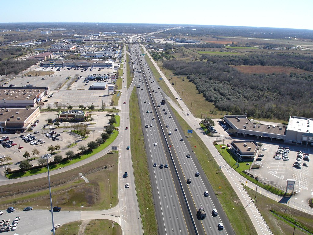 Aerial photo I shot from a helicopter above Webster Texas.  I 45 (Gulf Freeway) looking south.