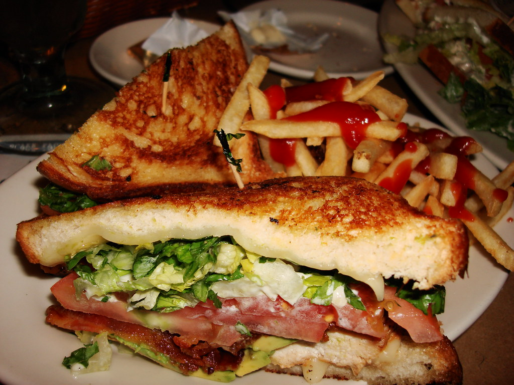 Grilled Chicken Avocado Club Sandwich With Fries At The Cheesecake Factory