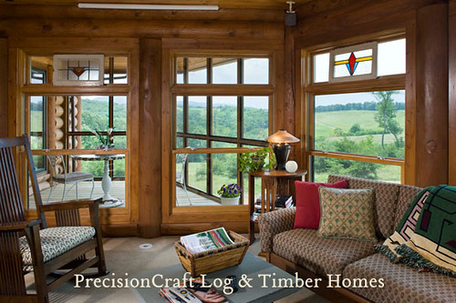 Log cabin interior eye candy younghousedreams for Log cabin sunrooms