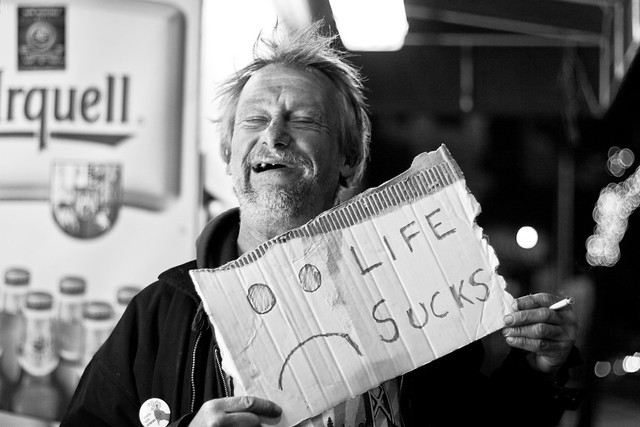 Happy homeless guy