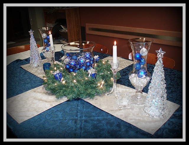 Silver amp Blue Christmas Centerpiece Flickr Photo Sharing